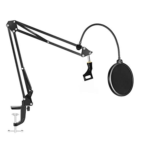Soporte de micrófono de suspensión de brazo Scissor soporte de micrófono clip titular para transmisión en vivo