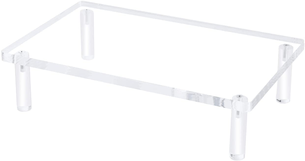 EAMATE Acrylic Monitor Stand Riser, 16.5 x 9.4 Inches Sturdy PC Desktop Riser with Anti-Slip Case for Keyboard Storage & Multi-Media, Computer Laptop, TV Screen in Office, Home, School