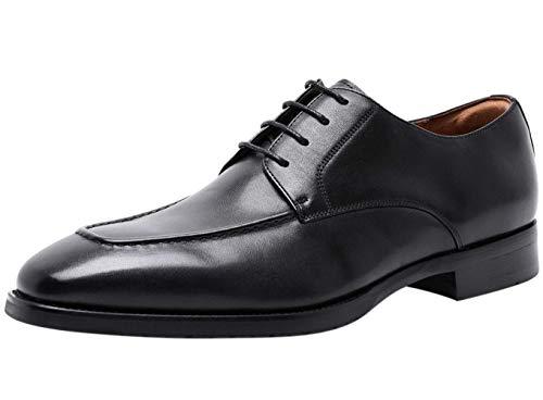 Zapatos Derbys Hombre con Cordones Cuero Moc Oxford para Vestir Casual de Negocios Boda Traje Formal Negro 38 EU