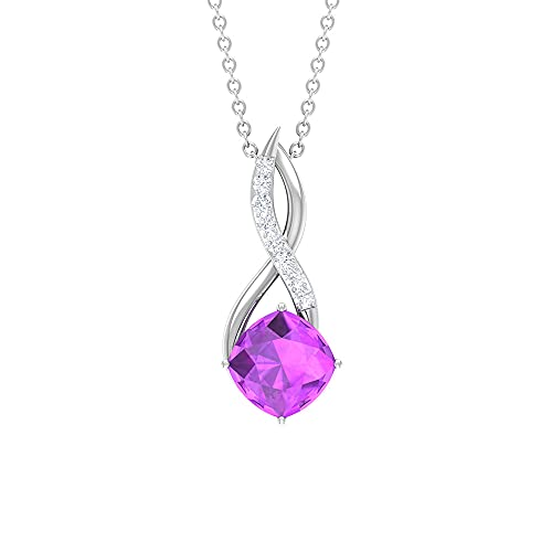 Rosec Jewels 18 quilates oro blanco cojín Round Brilliant Purple Moissanite Creado en laboratorio de kunzita