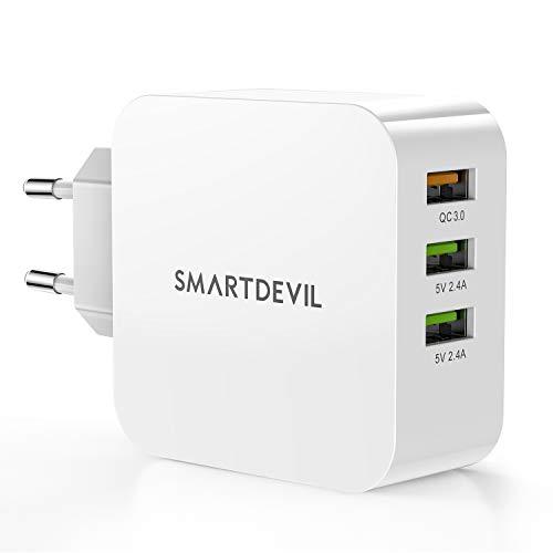 SmartDevil Caricatore USB Carica Rapida da Muro 3 Porte con Tecnologia Smart-Adaptive di Ricarica Rapida con Output Massima Fino a 2.4A Caricabatterie da Parete per iPhone, iPad, Samsung, Huawei etc