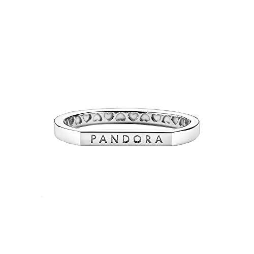Pandora Anillo de plata de ley con logotipo de plata de ley en tamaño 48