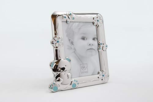 MASCAGNI - Cadre photo en métal brillant avec émail et éléments Swarovski - Bleu 13x18cm - Rectangle