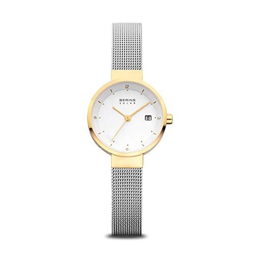 Bering Damen Analog Solar Uhr mit Edelstahl Armband 14426-010