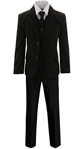 GILLSONZ A2237 5-TLG.Kinder festlich Junge Kommunions Hochzeit Anzug Hemd Gr.86-152 (Weiß, 128/134)