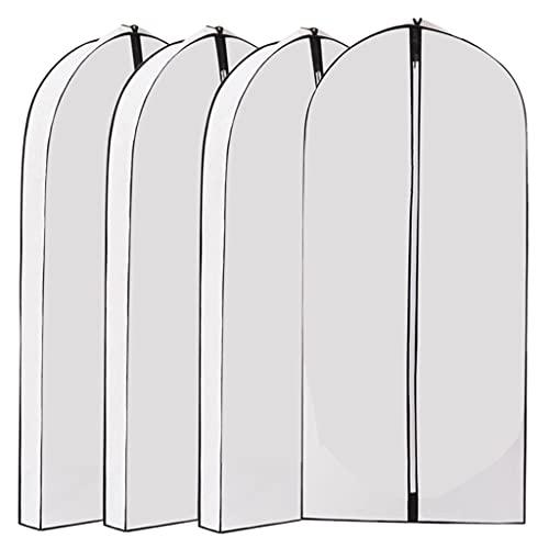 Baoblaze 4x Dustproof Garment Bag Mothproof Breathable Fabric Durable Wider Protector Moistureproof Hanging Transparent for Storage Travel Sweaters Men Women - white