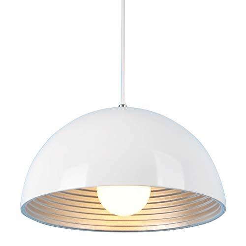 lampadario cupola SISVIV Lampada a Sospensione Moderna Bianco Lampadario Vintage Industriale 30CM in Metallo per Cucina Sala da Pranzo Ristorante E27