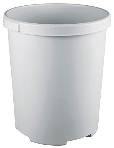 HAN Papierkorb Klassik XXL 1836-11 in unempfindlichem Lichtgrau – Großer & stabiler 50 L Mülleimer mit praktischen Müllkorb Griffmulden - für den Bürobedarf uvm.