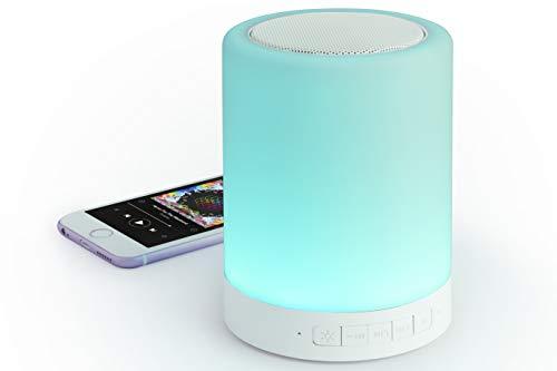 MKTOSASA-Altavoz Bluetooth® 3.0 y lámpara de Noche táctil con Tecnología Led Inteligente ILT. 3W de Potencia, función Manos Libres y Ranura para Tarjetas Mini SD de hasta 32GB-9.8x12.6x9.8