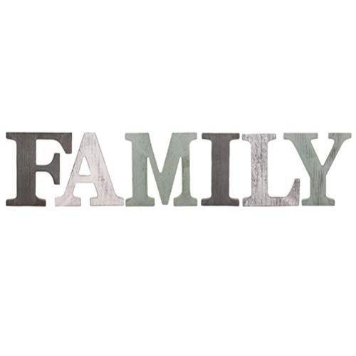 SUPVOX 1 Set FAMILY Letras de adorno de madera Colgando letrero Adhesivo de pared Decoración para el hogar Ornamento Decoración para fiestas (Verde)