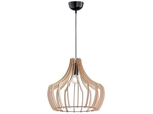 Lampara colgante LED regulable de madera natural, 1 foco, pantalla de color madera redonda, diametro 44 cm, altura 40 cm, lampara de mesa de comedor de madera
