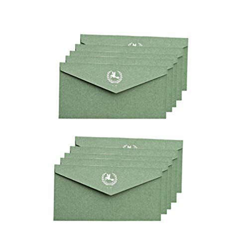 TOYANDONA 10 Stück Vintage Umschläge Kraftpapier Umschläge Postkarte Einladung Briefpapier Papiertüte Geburtstag Hochzeit Party Einladungen Grün Taube