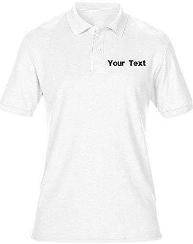swagwear - Polo para hombre con logotipo bordado de texto personalizado, 8 colores (S-5XL)
