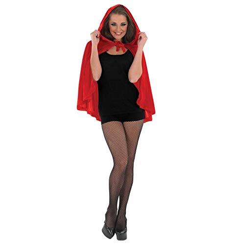 Fun Shack Accessorio Costume da Donna Mantello Rosso Corto con Cappuccio Fiaba di Cappuccetto Rosso