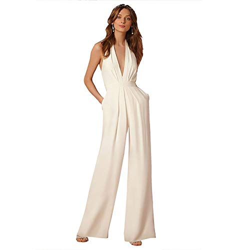 HaiDean Jumpsuit dames lange mode elegant casual modern broekpak avondmode formele zomer mouwloos V-hals hoge taille rugvrij wijd pijpen broek overall rimper