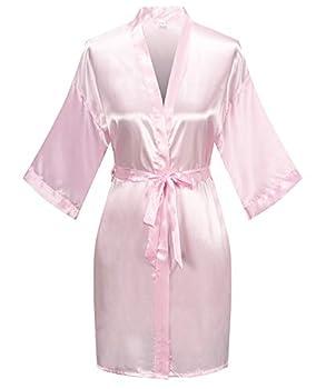 Women s Pure Color Satin Kimono Robe Short Bridesmaids Robe Dressing Gown Light Pink S/M