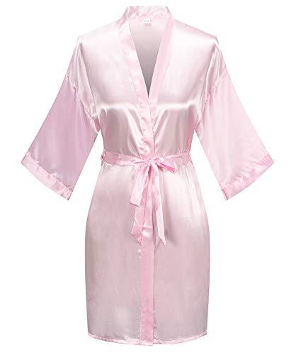 Women's Pure Color Satin Kimono Robe Short Bridesmaids Robe Dressing Gown, Light Pink, S/M