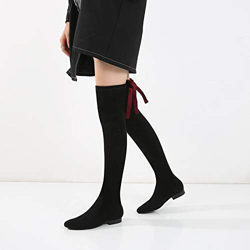 Shukun enkellaarsjes damesschoenen herfst en winter dames zwart lange laarzen dik met platte studenten houden warme knieën laarzen voor dames
