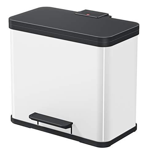 Hailo Öko trio Plus L | Mülltrenner 3 x 9 Liter | 27 Liter | Soft Close Deckeldämpfung | 3-In-1 Treteimer mit Inneneimern | Mülleimer rechteckig | Made in Germany | Stahlblech | weiß