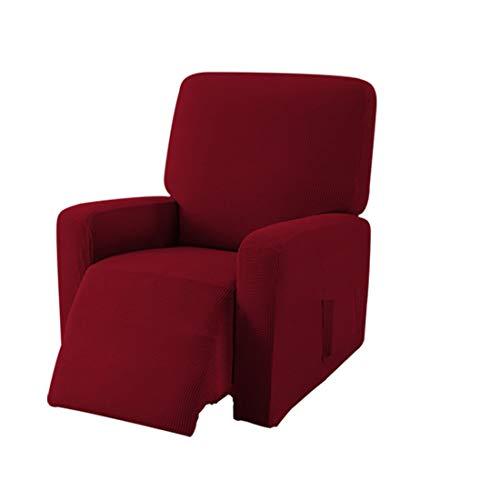 E EBETA Jacquard Sesselbezug, Sesselschoner, Stretchhusse für Relaxsessel Komplett, Elastisch Bezug für Fernsehsessel Liege Sessel (Weinrot)