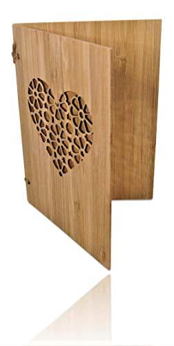 Handgefertigte beschreibbare Bambuskarte mit Herz | Hochzeitskarte | Geburtstagskarte | Geschenkkarte | Weihnachtskarte | Einladung Karte Holz | von SZillion®