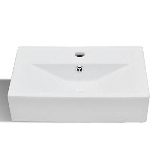Nishore Vasque a Poser Vasque rectangulaire a Poser Vasque pour Salle de Bain en Céramique rectangulaire Lavabo Blanc 4465 x 320 x 115 mm