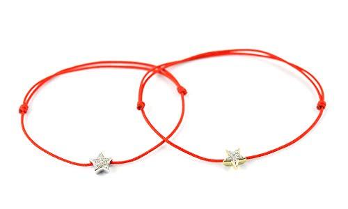 14K Yellow Gold Round Cut Natural White Diamond Star Charm Adjustable Cord Bracelet