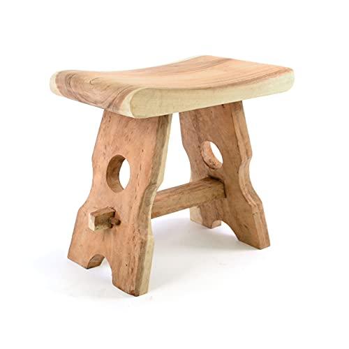DIVERO Hocker B-Ware Sitzhocker Holzhocker Badhocker Duschhocker Schemel – Suar Holz massiv Reine Handarbeit eckig - braun