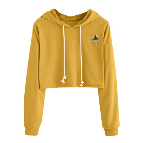 ESAILQ Frau Hoodie Applikationen Pinapple Sweatshirt Pullover(XXXL,Gelb)