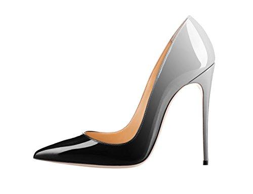 xiezuer Damen Pumps mit spitzem Zehenbereich, sexy Stilettos, High Heels, Slip-On-Mode-Kleid für Party, - Dunkelgrauer Farbverlauf - Größe: 44.5 EU