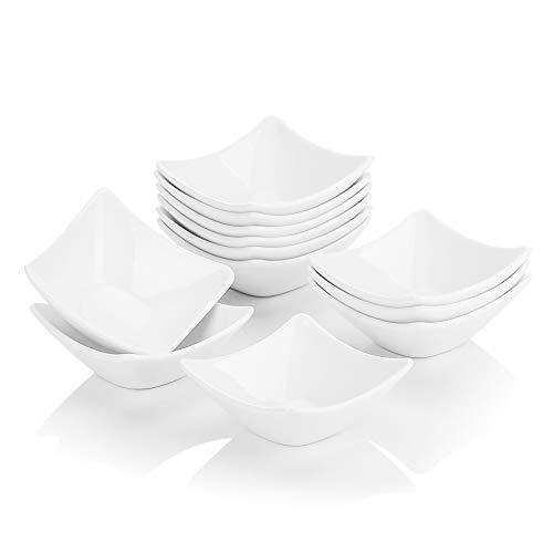 MALACASA, Serie Ramekin.Dish, Ciotoline da Snack in Porcellana Avorio Bianca Pirottini da Dessert Ceramica con 12 Pezzi