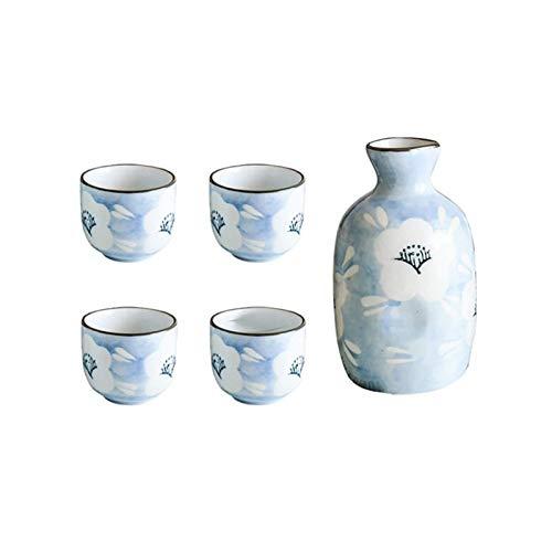 Juego de Vino de Flores Azules Juego de Sake japonés Olla de Vino de cerámica con Taza para Beber Juego de Barra de Flagon (1 Olla + 4 Tazas)