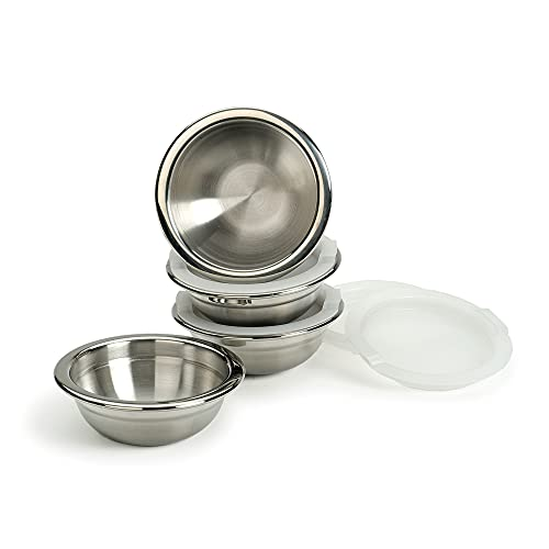 RSVP International Kitchen Prep Bowl Collection Stainless Steel, Dishwasher Safe, 1 Cup Capacity, Set of 4, w/Lids, Stainless