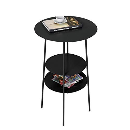 Tavolino Alto/tavolino in Ferro battuto, Design Desktop Multistrato, deposito stratificato, per Balcone Camera da Letto Soggiorno, Nero (Dimensioni: 40 × 40 × 62 cm)