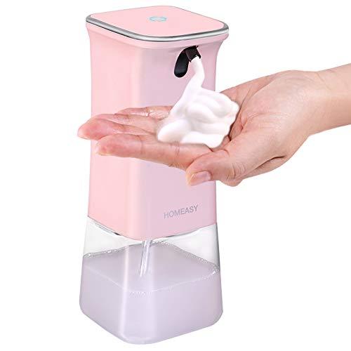 homeasy Seifenspender Automatisch in Rosa 350ml Schaumseifenspender No Touch Design mit Halterung