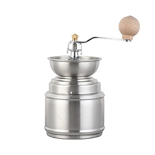 DMKYDM Molinillo de café Manual, Acero Inoxidable Cepillado, Tuercas de Especias de Molino Herramienta de rectificado de Mano Ajustable para el hogar Café, Plata