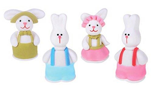 Dream' s Party 4 Soggetti in Zucchero Coniglietti pasquali - Animali Assortiti 3D - Decorazione per Torta e Dolci in Zucchero - Ideali per Decorazione Torte e Colombe di Pasqua ECC.