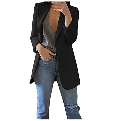 NISHUO Women's Casual Cardigan Suit Jacket Blazer Slim Plus Size Coat for Ladies Womens Work Office Blazer Pockets Buttons