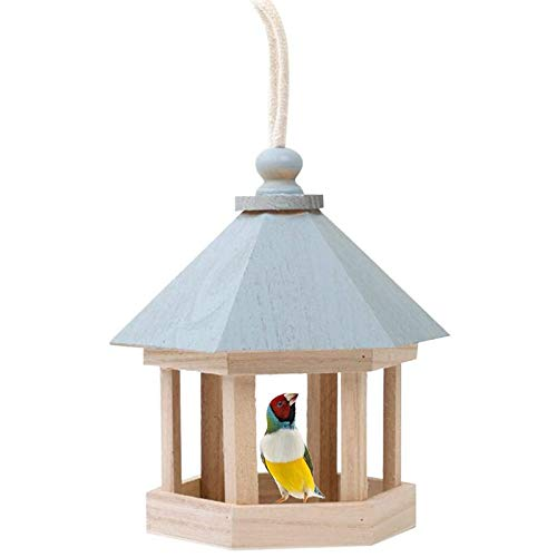 Bird Feeder Hanging Wild Bird Table Feeder,Wild Bird Wooden Seed Feeding Station,Wooden Hexagonal Bird Table With Zinc Roof Pine,Parrot Birdhouse