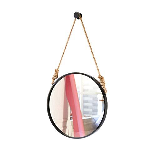 Zfggd Miroir accrochant Rond de Cadre de Fer forgé, Miroir de Chambre de Dressage de Chambre à Coucher de Miroir de vanité de Salle de Bains (Color : Black, Size : 60 * 60cm)