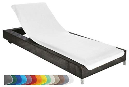 Brandsseller Housse de Protection pour Chaise Longue de Jardin de Plage en éponge 100% Coton Environ 75x200cm Couleur: Blanc