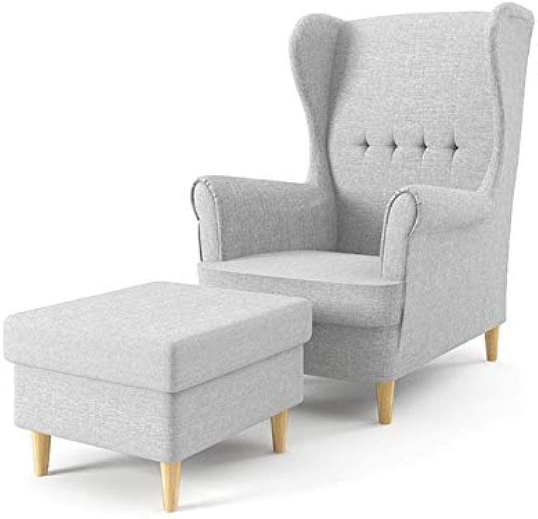 Sofini Ohrensessel Milo mit Hocker  Sessel für Wohnzimmer & Esszimmer  Skandinavisch, Relaxsessel aus Webstoff, Best Sessel  (Lux 32)