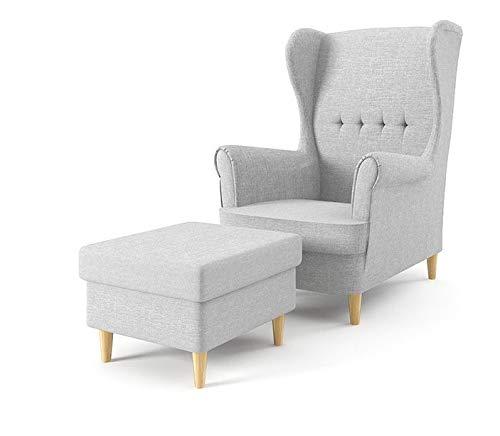 Sofini Ohrensessel Milo mit Hocker! Sessel für Wohnzimmer & Esszimmer! Skandinavisch, Relaxsessel aus Webstoff, Best Sessel! (Lux 32)