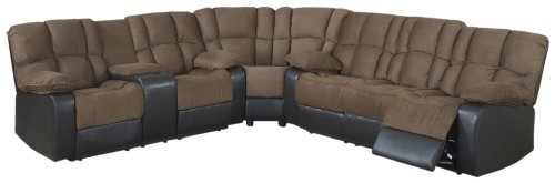 Hot Sale AC Pacific David Dual Reclining Sectional Sofa and Loveseat, Mocha Brown/Dark Brown