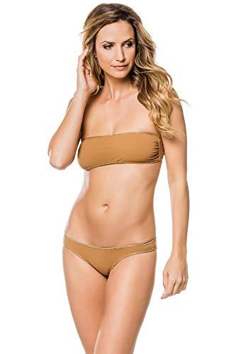 Tooshie Women's Hampton Solids Reversible Bandeau Bikini Top Jungle/Cinnamon 36