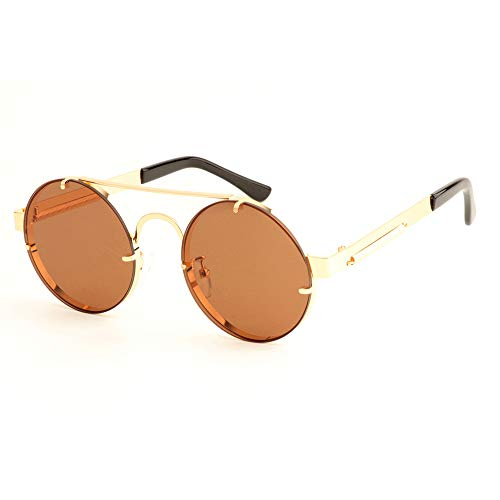 DASHUAIGE Gafas de Sol, Gafas de Sol Gafas de Sol para Hombres Gafas de Sol con Lentes Rojas Hombres Gafas de Sol Redondas Vintage Steampunk Gafas de Sol para Mujer Oro Plata Metal Plana Top Uv400