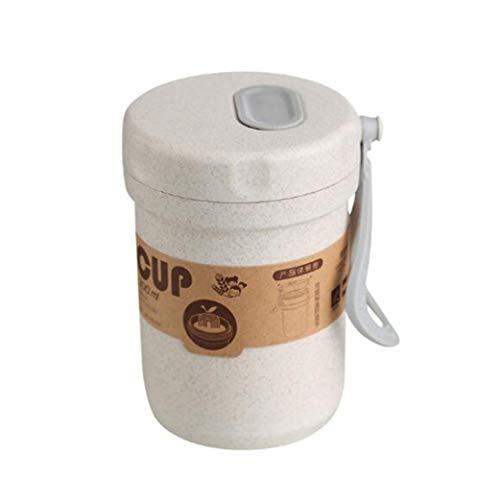 Clyine300 ml Suppenschachtel versiegelt Auslaufsichere Kinder mit Löffel Haferbrei Tasse Einfaches Muster Umweltfreundliche runde Suppenschale, 300 ml rosa