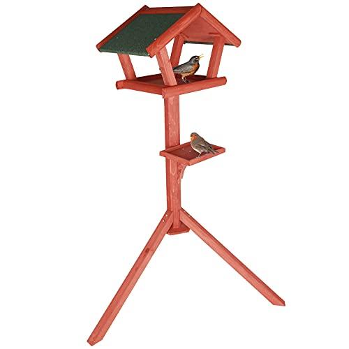 Petsfit Futterhaus/Vogelhaus für Vögel mit Ständer aus Holz Vogelhäuschen Vogelfutterhaus mit Strukturputzdach (Large: 128cm Height, Golden Red)