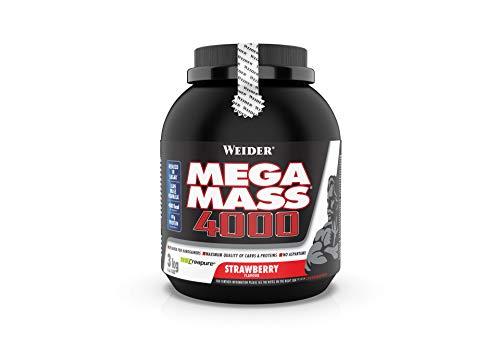 Weider Mega Mass 4000 Weight Gainer Shake mit Protein und Kreatin, Erdbeer, Muskelaufbau, 3kg