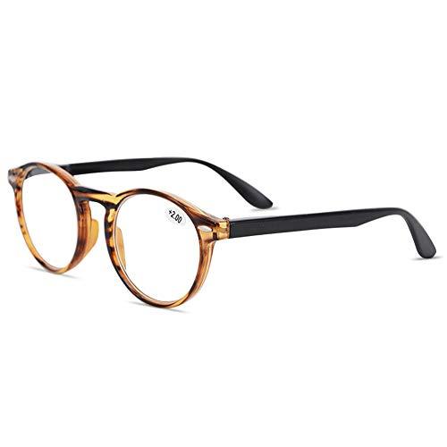 KOOSUFA KOOSUFA Lesebrille Herren Damen Retro Runde Nerdbrille Lesehilfen Sehhilfe Federscharniere Vollrandbrille Anti Müdigkeit Brille mit Stärke 1.0 1.5 2.0 2.5 3.0 3.5 4.0 (Braun, 3.0)
